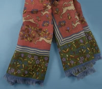 Cotton and Cashmere Blend Hunter Print Scarf in Coral