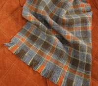 Cashmere Plaid Scarf Grey/Orange/Yellow