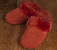 Ladies Kikki Red Suede Slipper
