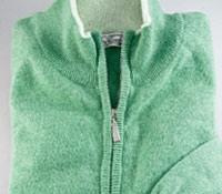 Cashmere Golf Half Zip Sweater in Aqua
