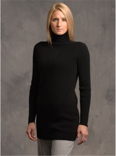 Black Cashmere Mock Turtleneck Sweater