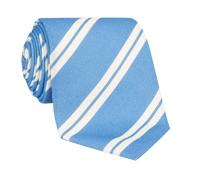 Silk Panama Weave Striped Tie in Sky