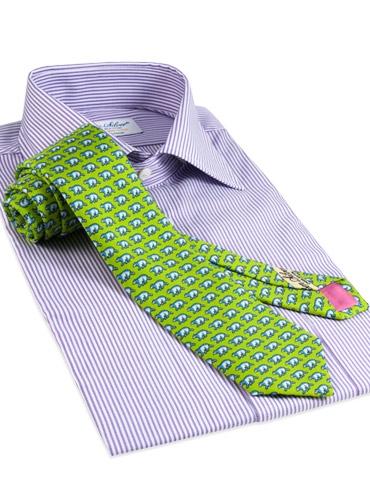 Silk Print Polar Bear Tie in Lime