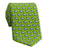 Silk Print Polar Bear Tie in Lime