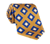 Silk Diamond Print Tie in Gold