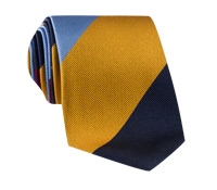 Silk Block Stripe Tie in Sky, Wine, Navy and Gold