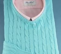 Cotton Cable Knit Crewneck Sweater in Aqua