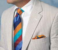 Light Tan and Cream Seersucker Suit