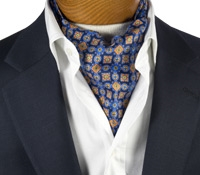 Silk Printed Ascot With Mosaic Motif in Navy