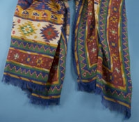 Cotton and Cashmere Blend Aztec Scarf in Marine