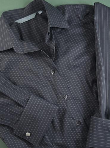 Ladies Cotton Black White Pinstripe Dress Shirt With