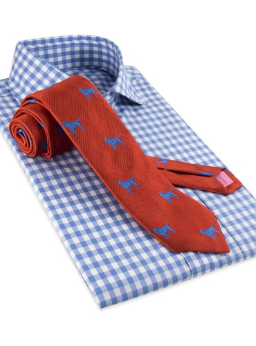 Silk Woven Tie with a Labrador Motif in Chili