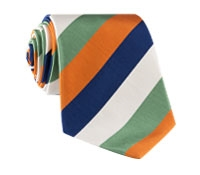 Mogador Silk Stripe Tie in Sage and Tangerine