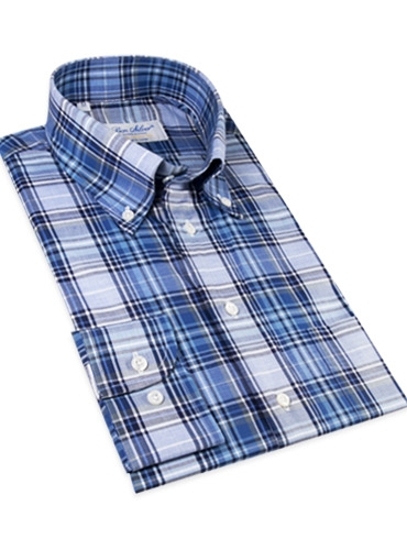 White and Blue Plaid Button Down