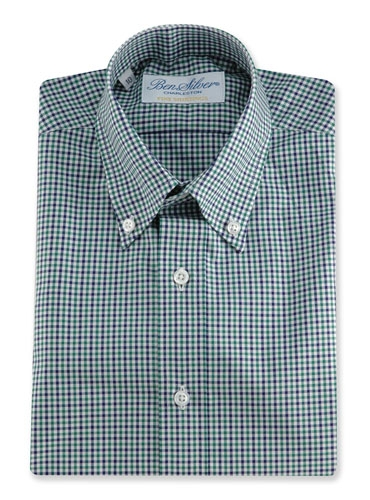 Boys Shirt Green/Navy Check Buttondown
