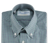 Boys Shirt Green/Navy Check Buttondown
