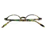 Semi-Rimless Oval Frame in Green Marble