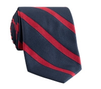 Silk Striped Tie in Navy with Red