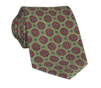 Silk and Linen Neat Print Tie in Sage