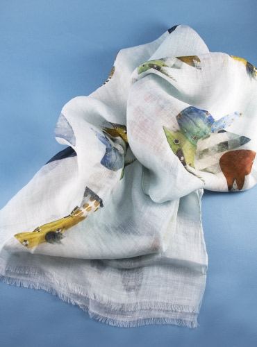 Linen Fish Print Scarf in Mint
