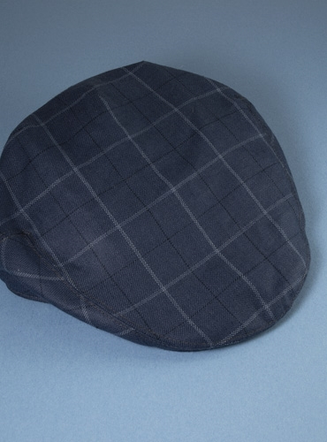Wool and Linen Garforth Cap in Navy with White Windowpanes