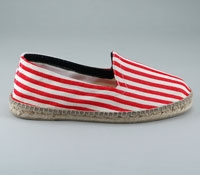 Red and White Striped Espadrille