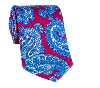 Silk Print Large Paisley Tie in Cranberry
