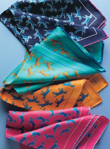 Silk Print Dog Motif Pocket Squares