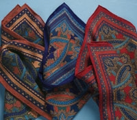 Wool and Silk Medallion Printed Pocket Squares