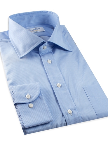 Sky Blue & White Hairline Stripe Spread Collar Travel Shirt