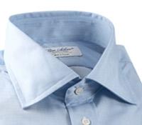 Sky Blue & White Hairline Stripe Spread Collar Travel Shirt