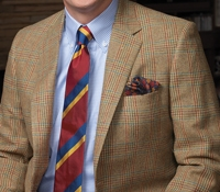 Tan Glen Plaid Lambswool Sport Coat with Rust and Teal Windowpanes