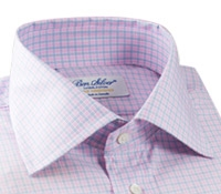 White with Pink and Sky Check Spread Collar