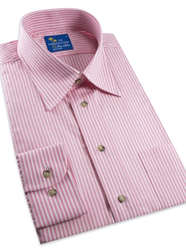 Pink and White Stripe Charleston Shirt in Linen & Cotton