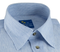 Charleston Linen Shirt in Blue and White Hairline Stripe
