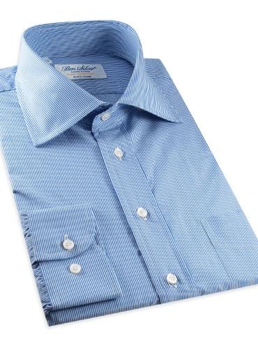 Regal and White Pinstripe Spread Collar