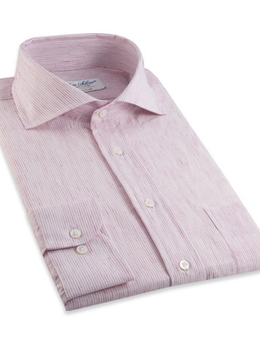 Soft Pink Pale Stripe Cutaway Collar in Linen