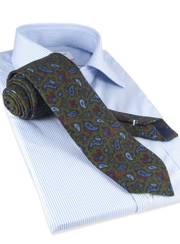 Wool Printed Paisley Tie in Olive
