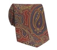 Silk Print Paisley Tie in Brick