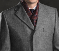 Wool and Cashmere Overcoat in Grey Herringbone