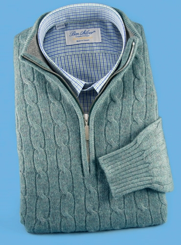 Cashmere Half Zip Cable-Knit Sweater in Sage
