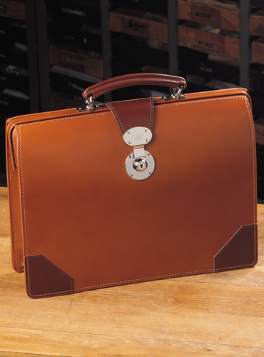 Top Frame Document Case in Hazel Bridle Leather with Chestnut Trim