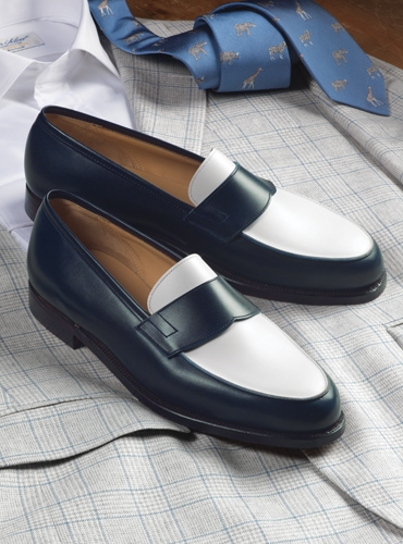 The Crewe Loafer in Navy and White Calfskin