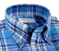 Cobalt, Royal Blue, and White Plaid Button Down in Linen