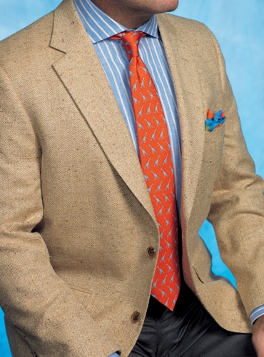 Pearl and Sable Herringbone Silk Sport Coat