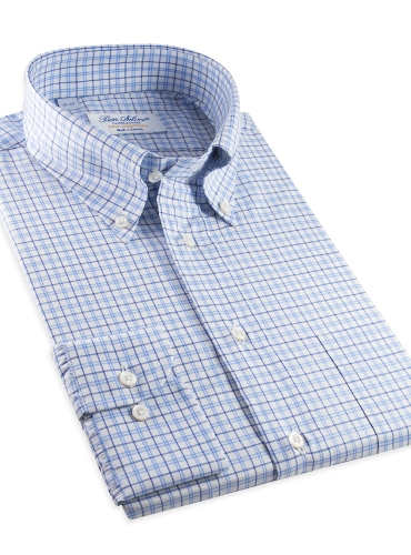 Sky & Navy Large Graph Check Button Down