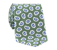 Silk Print Paisley Tie in Sage
