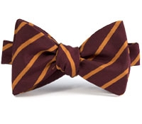 Mogador Bar Stripe Bow in Wine