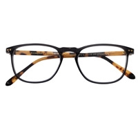 Slim Semi-Square Frame in Charcoal with Tortoise Temples