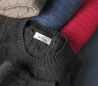 Rib and Cable Melange Cashmere Crewneck